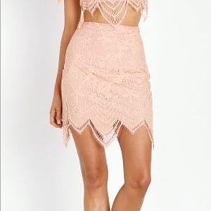 For Love Lemons Luna Skirt in pale blush size S